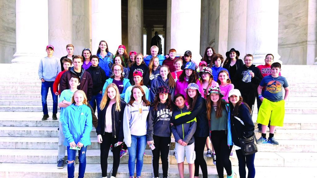 Photo submitted The TOW UFSD band visits the Jefferson Monument in DC.