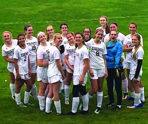 Photo submitted The Town of Webb Union Free School District's girls varsity soccer team gets ready to hit the field.